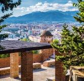 Paysage urbain de Malaga Photographie stock libre de droits