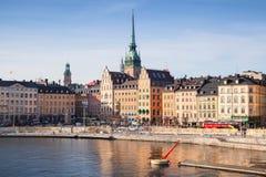 Paysage urbain de matin gamla Stockholm stan Photo stock