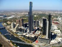 Paysage urbain de Melbourne et de rivière de Yarra Images stock