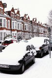 Paysage urbain de neige Photographie stock