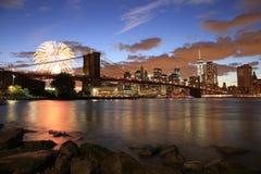 Paysage urbain de New York de pont de Brooklyn Photos libres de droits