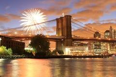 Paysage urbain de New York de pont de Brooklyn Images libres de droits