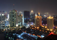 Paysage urbain de nuit Photos stock