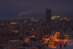 Paysage urbain de nuit d'une taille Images stock