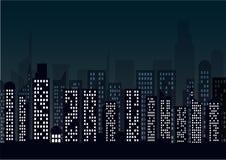 Paysage urbain de nuit dans le style plat Fond d'abrégé sur horizon de ville de nuit Photo stock