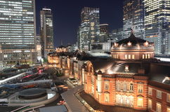 Paysage urbain de nuit de station de Tokyo Images stock