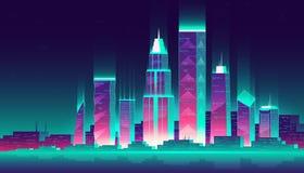 Paysage urbain de nuit, illustration de vecteur illustration stock