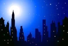 Paysage urbain de nuit - vecteur Photos stock
