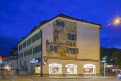 Paysage urbain de nuit de Zurich Photographie stock