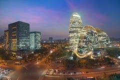Paysage urbain de Pékin et bâtiment célèbre de point de repère dans WangJing Soho image stock
