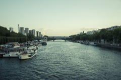 paysage urbain de passerelle au-dessus de seine de Paris Image stock