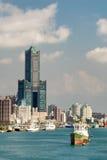 Paysage urbain de port Photographie stock