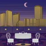 Paysage urbain de scène de nuit de dîner illustration stock