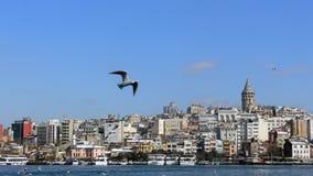 Paysage urbain de secteur de Karakoy à Istanbul avec la tour de Galata Photographie stock