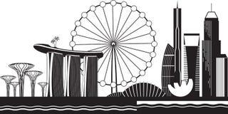 Paysage urbain de Singapour par jour illustration stock