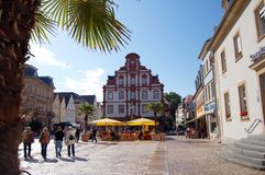 Paysage urbain de Speyer avec le son centre ville et maisons historiques Peo photo stock