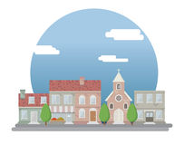 Paysage urbain de style plat Image stock