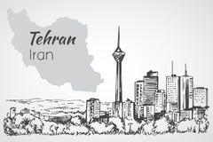 Paysage urbain de Téhéran - Iran croquis illustration stock