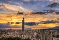 Paysage urbain de Taïpeh Photographie stock libre de droits