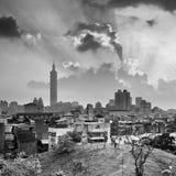 Paysage urbain de Taïpeh de coucher du soleil Image stock