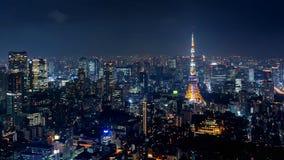 Paysage urbain de Tokyo la nuit, Japon image libre de droits