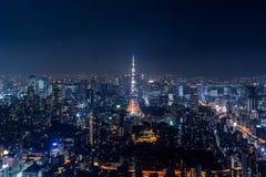 Paysage urbain de Tokyo la nuit, Japon image stock