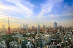 Paysage urbain de Tokyo, vue aérienne de gratte-ciel de ville de buildi de bureau photographie stock