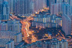 Paysage urbain de traînée de feu de signalisation Photo stock