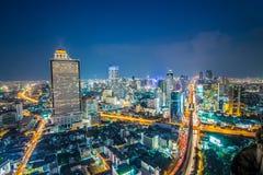 Paysage urbain de ville de Bangkok, belle vue de gratte-ciel Image libre de droits