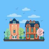 Paysage urbain de ville européenne avec des Chambres de vintage illustration stock
