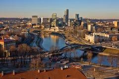 Paysage urbain de Vilnius de château de Gediminas Images libres de droits
