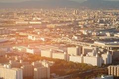 Paysage urbain de vue aérienne d'horizon de ville d'Osaka photographie stock libre de droits