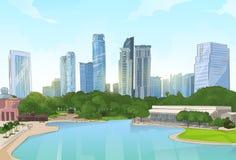 Paysage urbain de vue de gratte-ciel d'arbres d'étang de parc de centre de la ville Photos libres de droits