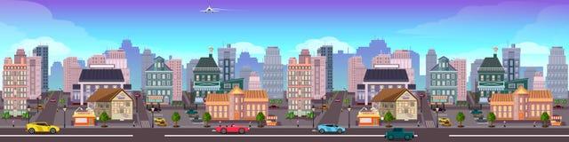 Paysage urbain de vue de gratte-ciel de Panamá City illustration de vecteur