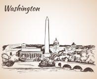 Paysage urbain de Washington DC - croquis Images libres de droits