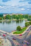 Paysage urbain de Wroclaw avec la rivière Odra Photographie stock