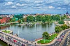 Paysage urbain de Wroclaw avec la rivière Odra Photo libre de droits