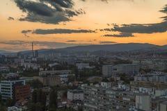 Paysage urbain de Zagreb au coucher du soleil Photographie stock