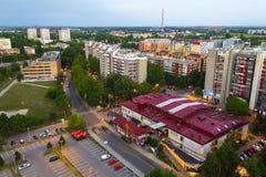 Paysage urbain de Zagreb au coucher du soleil Images stock