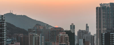 Paysage urbain dense en Hong Kong Photo stock