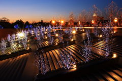 paysage urbain des lumières aux couchers du soleil images libres de droits
