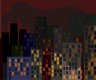 Paysage urbain du 21ème siècle, l'écologie du monde moderne illustration libre de droits