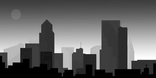 Paysage urbain du centre au crépuscule Images libres de droits