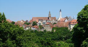 Paysage urbain du centre médiéval historique du der Tauber d'ob de Rothenburg Image stock