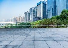 Paysage urbain et horizon de Chongqing de plancher vide de brique Photo libre de droits