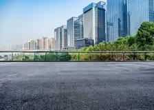 Paysage urbain et horizon de Chongqing de plancher vide de brique Images libres de droits