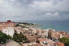 Paysage urbain et paysage marin de Tarragone de l'Espagne Photographie stock libre de droits