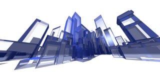 Paysage urbain extrême bleu illustration libre de droits