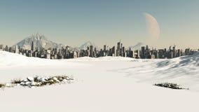 Paysage urbain futuriste en neige de l'hiver Photographie stock libre de droits