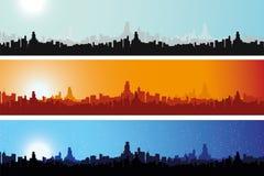 Paysage urbain illustré tout au long de la journée Illustration Libre de Droits